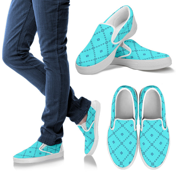 Turquoise Patchwork Women's Slip Ons