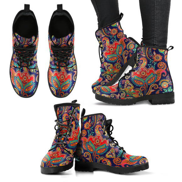 Henna Flower Women's Leather Boots
