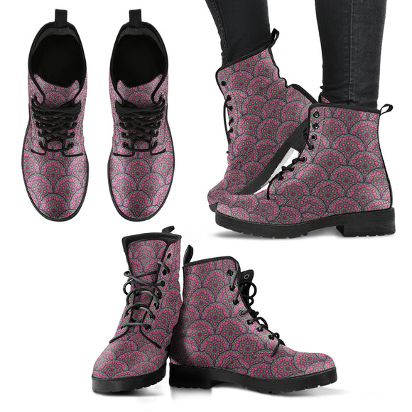 Floral Mandala Women's Leather Boots