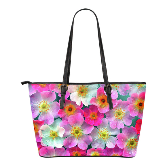 Bright Flowers Small Leather Handbag