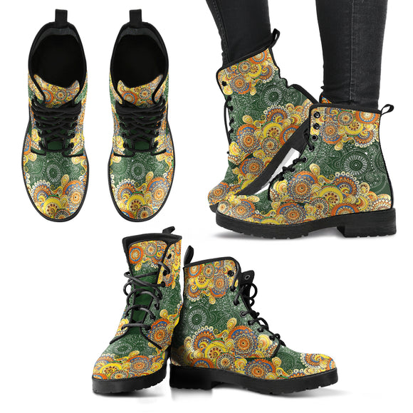 Henna Floral Women's Leather Boots