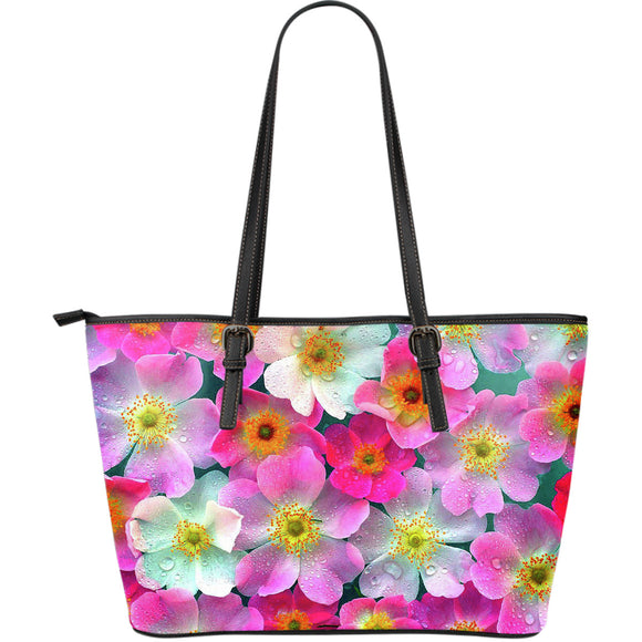 Bright Flowers Large Leather Handbag