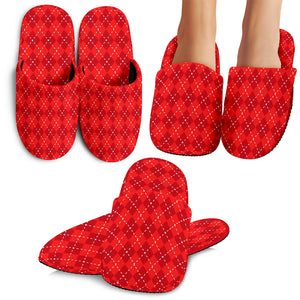 Red Argyle Slippers