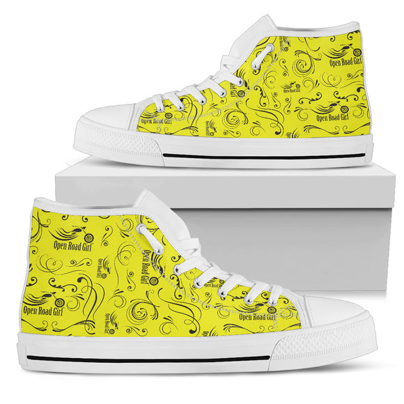 YELLOW Solid Scatter Design Open Road Girl White Sole Canvas Women's High Top