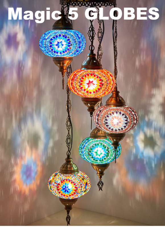 5 Globe Handmade Boho Chandelier With Swag Plug