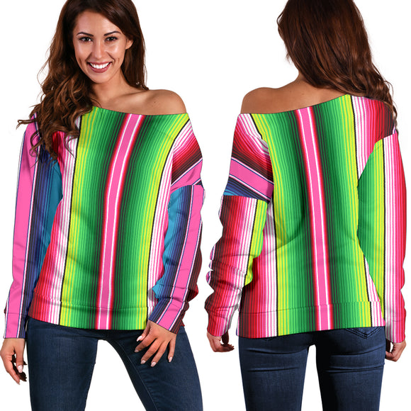 Mexican Stripe Off Shoulder Sweater