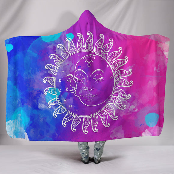 Colorful Sun Moon Hoodie Blanket
