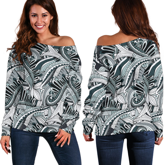Funky Patterns in Black - Women's Off Shoulder Sweater