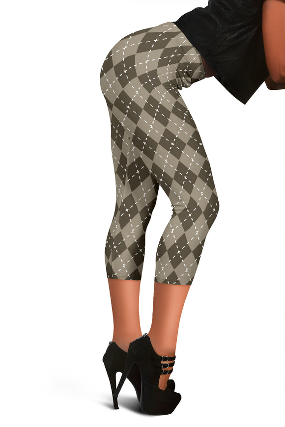 Chocolate Argyle Womens Capris