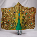 Golden Peacock Plush Lined Hooded Blanket