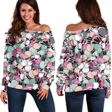 Funky Patterns in Candy - Women's Off Shoulder Sweater
