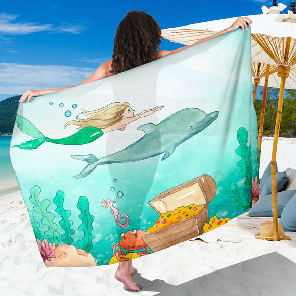 Mermaid Dolphin Water Color Sarong