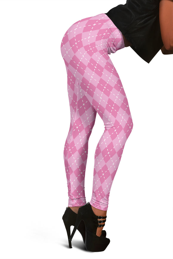 Pink Argyle Women's Leggings