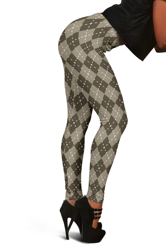 Chocolate Argyle Womens Leggings
