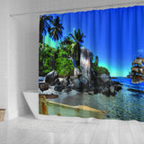 Island and ship Shower Curtain