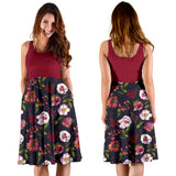 Floral Blush Pastel Roses Peonies 2Tone - Women's Midi Dress