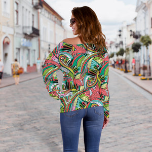 Funky Patterns in Greens - Women's Off Shoulder Sweater