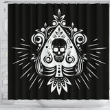 Skull Tattoo Design Black Shower Curtain