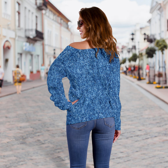 Denim Print Off Shoulder Sweater