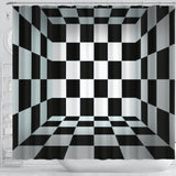 Black and White squares Shower Curtain