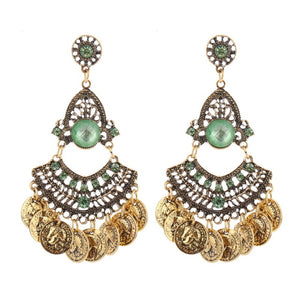 Brincos Coin Tassel Crystal Earrings