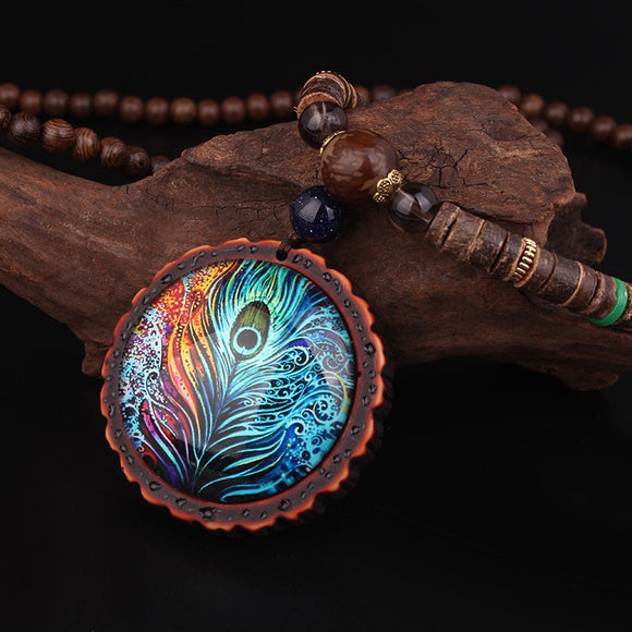 Handmade Sandalwood Peacock Feather Ethnic Necklace