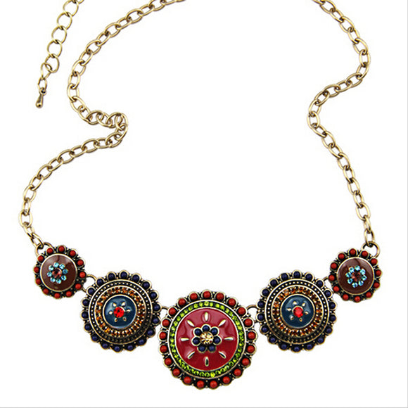 Bohemia Style Enamel Beads Flower Necklace