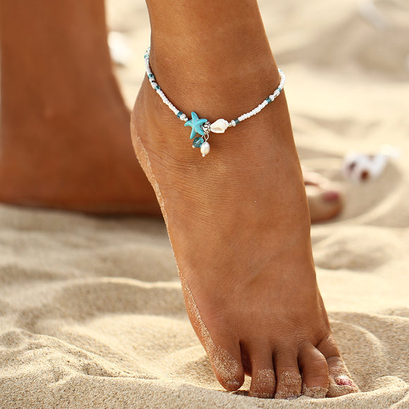 Bohemian Imitation pearls Starfish Anklets