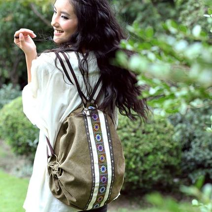 Anti Theft Boho Ethnic Canvas Backpacks