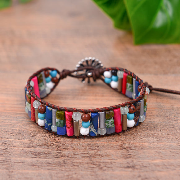 Boho Tube Shape Natural Stone Bracelet