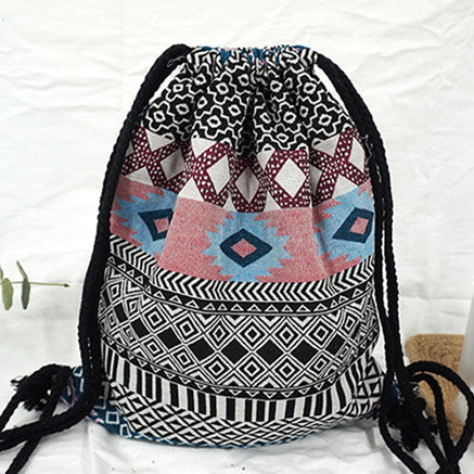 Bohemian Drawstring Rucksack Backpack