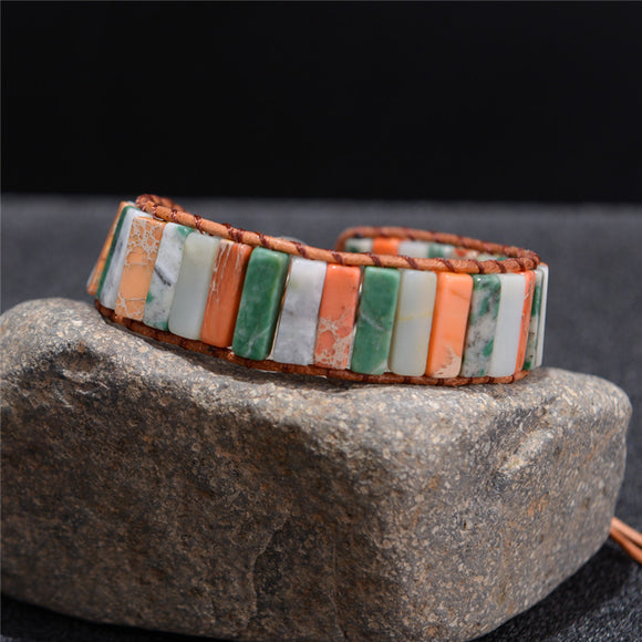 Vintage Tube Shape Natural Stone Leather Wrap Bracelet