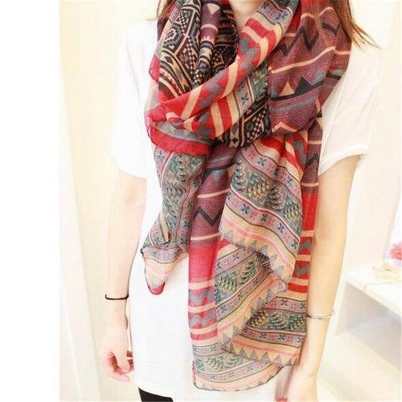 Bohemian Women's Long Print Scarf