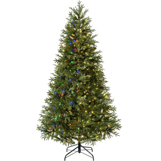 Pre-lit Mixed Pine Natural Bark Multi-Function Christmas Tree, 400 Multi Dual LED Lights, 7 feet/2.1 m
