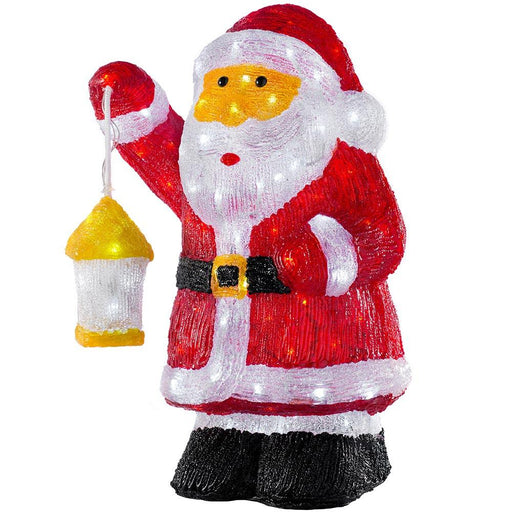 Santa Holding Lantern, 120 LED lights, Multi-Colour, 43cm
