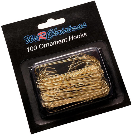Bauble Ornament Hooks, Gold 6cm, Pack of 100