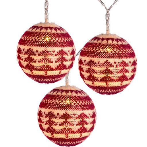 20 Cotton Fairisle Pattern Ball LED Light String Christmas Decoration, 3m