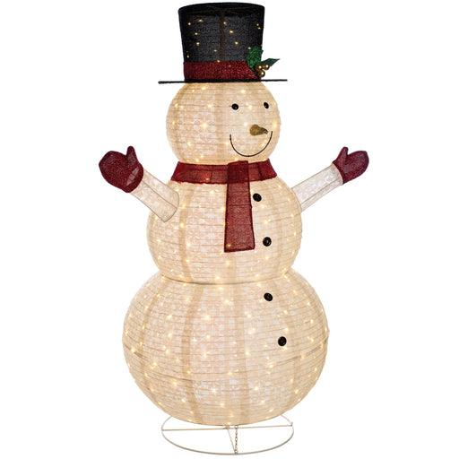 Large Pre-lit Snowman Silhouette with 300 LED Lights, White, 1.5m