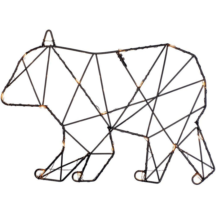 2d Black Wire Polar Bear Christmas Decoration Led Lights 21cm