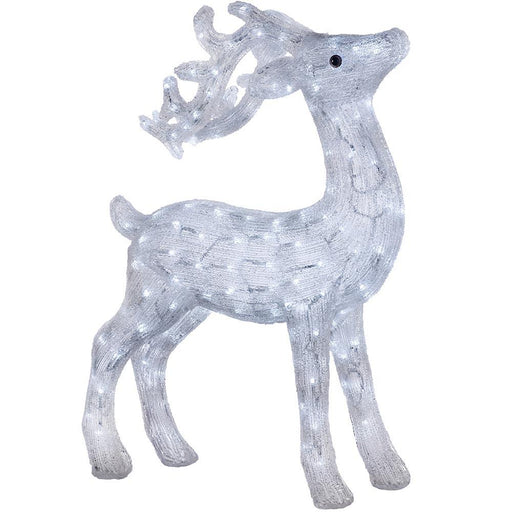 Large Pre-lit Reindeer 200 White LED Lights, Multi-Colour, 75cm