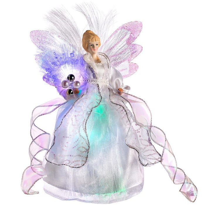Fiber Optic Angel Christmas Tree Topper With Glowing Wings Multi Colou