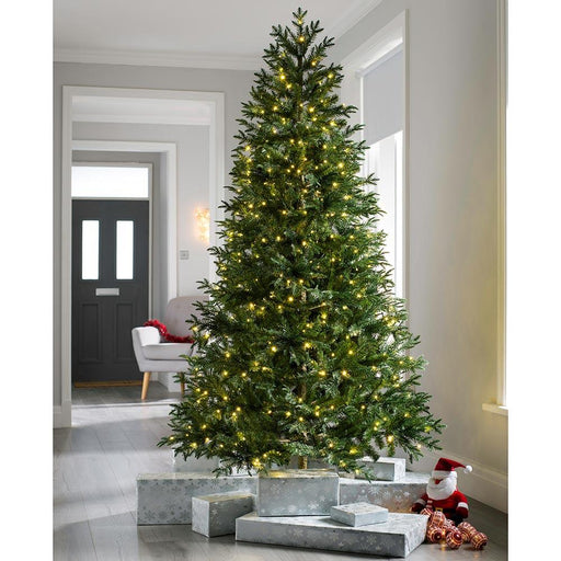 Pre-lit Mixed Pine Natural Bark Multi-Function Christmas Tree, 300 Multi Dual LED Lights, 6 feet/1.8 m
