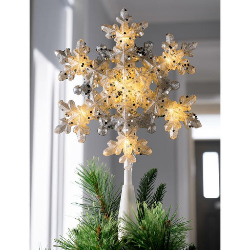 Snowflake Christmas Tree Topper, LED Lights, Silver, 29cm