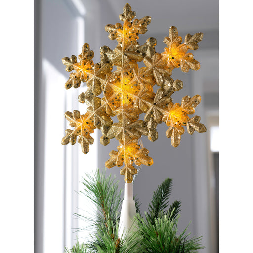 Snowflake Christmas Tree Topper, LED Lights, Gold, 29cm