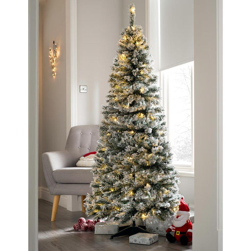 Pre Decorated Flocked Popup Christmas Tree, 100 Warm White LEDs, 6 feet/1.8 m