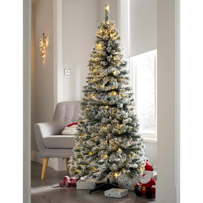 Pre Decorated Flocked Popup Christmas Tree 100 Warm White Leds 6