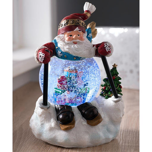 Pre-lit Colour Changing Musical Skiing Santa Snow Globe, 21cm