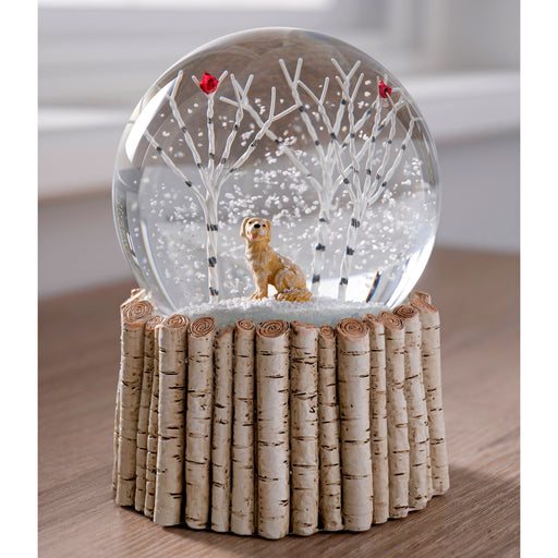 Dog and Cardinal Bird Snow Globe With Birch Base, Multi Colour, 12cm