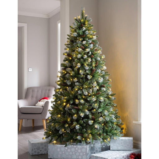 Pre-lit Blue Brocktion Spurce Christmas Tree, Multi-Function LED Lights, 7 feet/2.1 m
