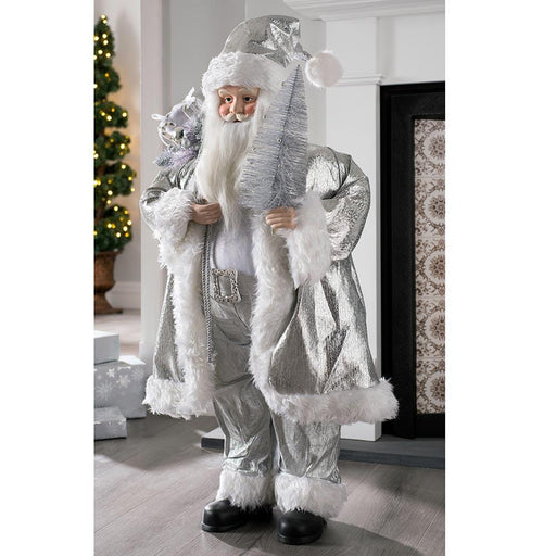 Large Standing Santa Claus, Silver Outfit and Tree, 92cm